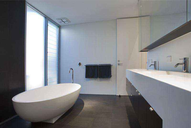 Modern white and charcoal bathroom renovation