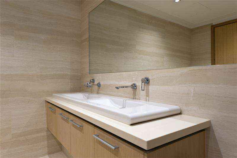 custom bathroom cabinets with square sinks